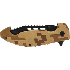 Folding Knife Spring Assisted Brown Digital Camo Front