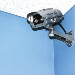 Solar Powered Dummy Camera with Motion Activated Flashing LED In Room Corner