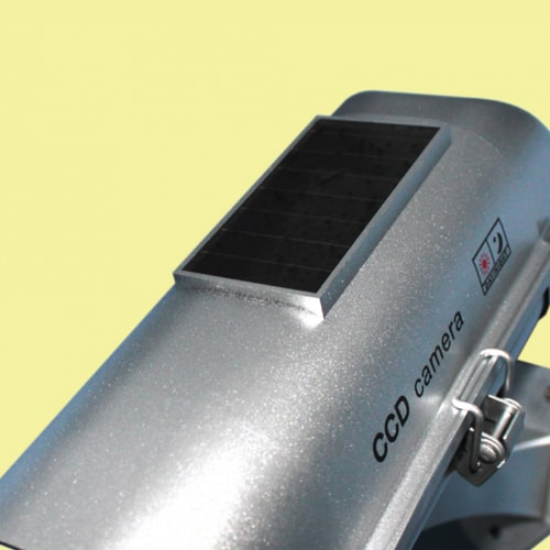 Solar Powered Dummy Camera with Motion Activated Flashing LED Top Solar Panel